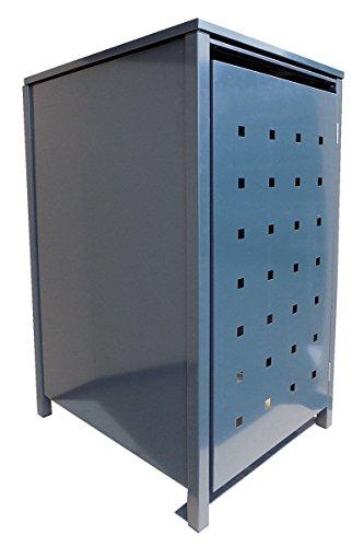 BBT@ | Hochwertige Mülltonnenbox für 3 Tonnen je 120 Liter mit Klappdeckel in Grau (RAL 7016) / Stanzung 5 / Aus stabilem pulver-beschichtetem Metall / Verschiedene Farben + Blech-Stanzungen erhältlich / Mülltonnenverkleidung Müllboxen Müllcontainer - 3