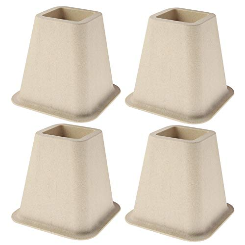 Möbelerhöhung 4er Set Möbelerhöhung für Bett Stuhl Schreibtisch Tisch Kunstleder PP weiß stark platzsparend geeignet stabil zur Unterstützung von Möbeln -