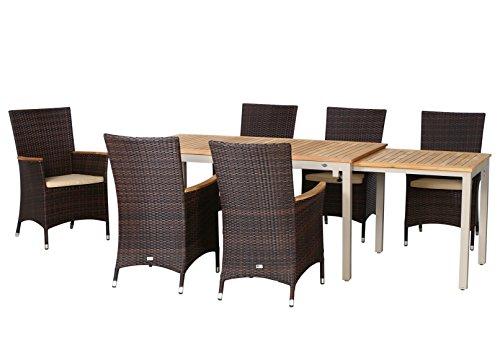 13-teilige Luxus Aluminium Teak Polyrattan Geflecht Gartenmöbelgruppe 'Beach' , 6 Diningsessel, 6 Auflage und ein Ausziehtisch Tifosi 160/280x90, champagner - maron (braun schwarz)