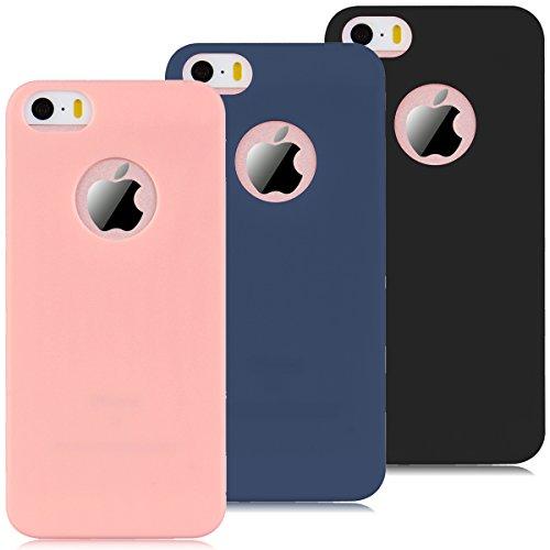 Coque iPhone 5 / 5S / SE, Yokata Solide Mat Anti-Fingerprint Case Housse Étui Soft Doux TPU Silicone Flexible Backcover Ultra Mince Coque - Rose Noir + Bleu Marine + Rose