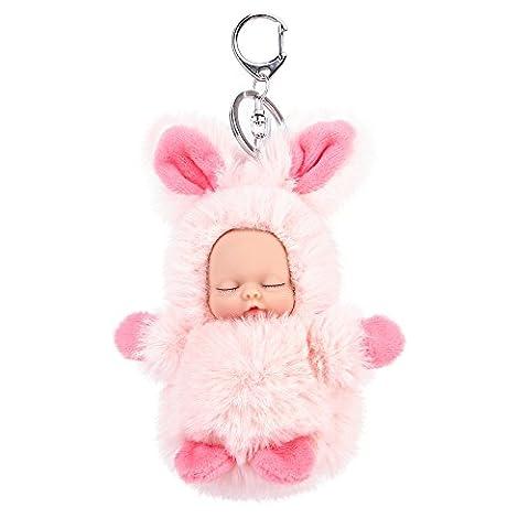 AOKE Plüsch Schlüsselbund Handtasche Charme Lifelike Fluff Baby Puppe Vinyl Soft Adorable Sweet Schlüsselanhänger Pink