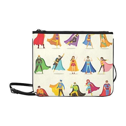 EIJODNL Cute Superhero Kids Pattern Benutzerdefinierte hochwertige Nylon Slim Clutch Bag Cross-Body Bag ()