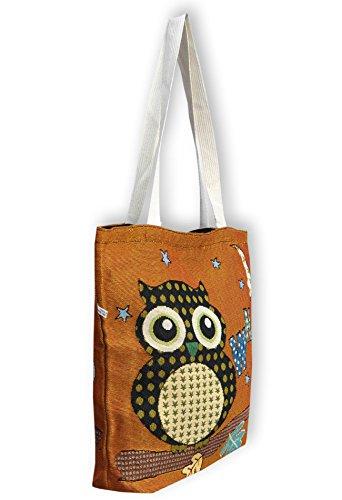 Eule Eulen Tasche Shopper Strandtasche mit Reißverschluss ***verschiedene Motive erhältlich*** Eulenmotiv Shopping bag Umhängetasche Beuteltasche - VINTAGE LOOK / absolut cool und stylish - 42317