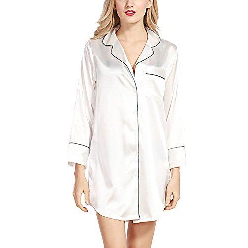 Haodasi Damen Luxus Seide Lange Ärmel Nachtwäsche Pyjama Taste Umlegekragen Schlaf-Shirt Kleid Boyfriend Stil Bluse Top Plus Größe Lose Nachthemd für Frauen (Harem Seide)