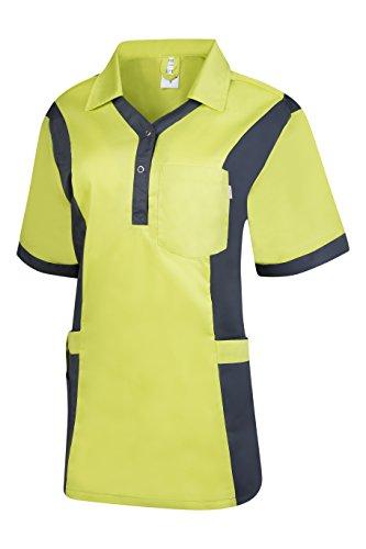 Clinotest Damenkasack Julia, Gesundheitswesen, für die Pflege, Berufsbekleidung, in Trendfarben (L, new lime/nimbus grey)
