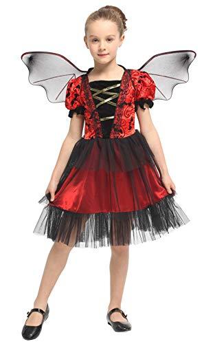 DEMU Kinder Mädchen Vampir Fledermaus Kostüm mit Flügel Halloween Flügel Kleid Fasching - Vampir Mädchen Kleinkind Kostüm