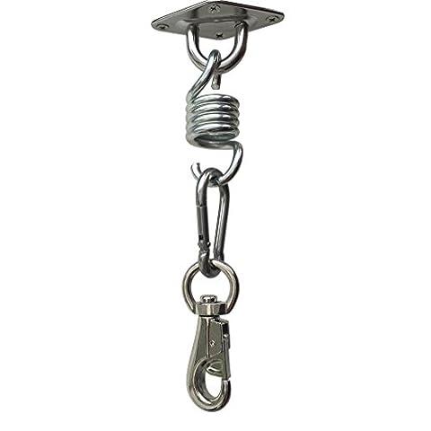Amgateeu Hamac Chaise ultime à suspendre kit–Heavy Duty Capacité de 226,8kilogram Crochets pivotants, Printemps, Snap Crochets et support de plafond à suspendre avec 4pcs Vis