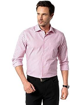 Seidensticker Herren Langarm Hemd Uno Regular Fit rosa / weiß gestreift 138390.44