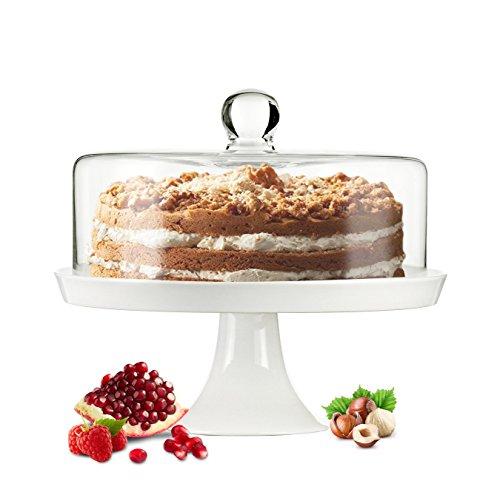 Cloche en verre Cloche à gâteau cloche à fromage Pied en porcelaine Plateau à gâteau plateau à gâteau