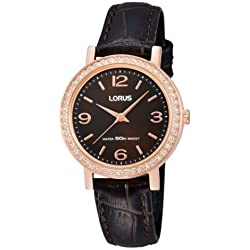 Lorus RG222JX9 Rose Gold Plated Brown Leather Strap Watch