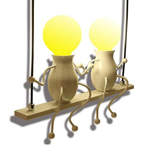 Modern Klassisch Creative doppeltem Design Deluxe LED Schwingen Wandleuchte Edison Wandlampe Innen minimalistische Metall Anhänger Einstellbar Wandbeleuchtung 2*E27 max. 40 Watt, Weiß