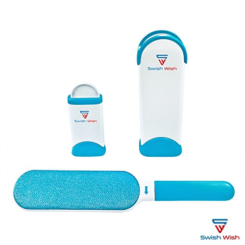 Fur Remover for Pet Hair and Clothes Lint, Reusable, Double-Sided with Self-Cleaning Base and Travel Size Brush. Improved Stronger Handle, Perfect for All Fabrics, Furniture, Carpets.