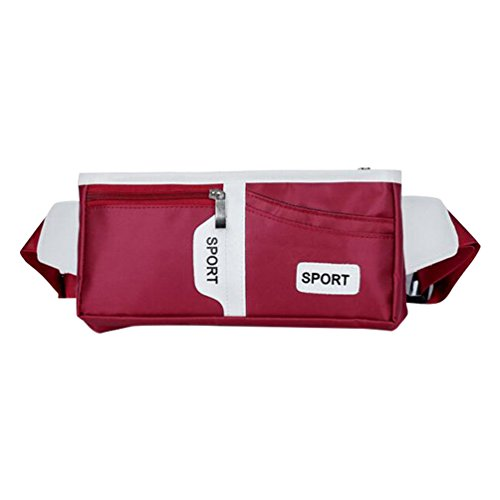 Baymate Unisex Multipurpose Marsupio Borsello In Nylon Regolabile Sport Waist Packs Vino Rosso
