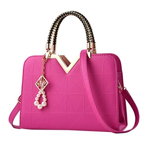 Tohole Damen Handtaschen Schulterbeutel Frauen Stilvolle Schultertasche Taschen UmhäNgetasche Geschenk Handtasche Tragetaschen(Pink,1PC) -