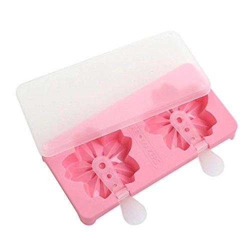 fundiy Cute Ice Lolly Formen Ice Bar Schöpfern Silikon Eis Popsicle Formen Eiswürfelformen zufällige Farbe, plastik, Cherry Blossoms Shape, 20.3*13.2*2.4cm