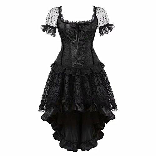 elegant Kleid Korsett Ärmel Spitze Vollbrust Corsagenkleid Gothic Rock Asymmetrie Burlesque sexy Damen große größen Schwarz 6XL
