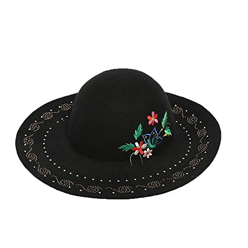Peggy Gu Sombrero de señora Cloche Fedora Las Flores de otoño e Invierno están Cubiertas con algodón de Color Negro Domo. Casquillo de la Iglesia del Vintage del Invierno