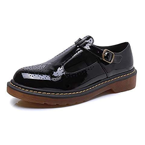 Smilun Womens Brogues Shoes Classic Derby Shoes 3 Eyes T Mary Jane Flats Tassel Fringe Round Toe Black
