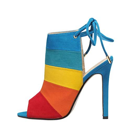 Zilosconcy Sommer Sexy Damen Römischer Schnürschuh Robuste Schuhe mit hohem Absatz Fischsandalen S317-B9 Sommer Sexy Lady Colorblocked Lace-Up Stiletto Sandalen Farbe 38 Colorblocked Zip
