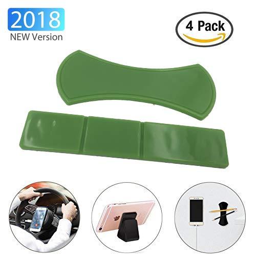 KingSnow 4 Stück Handy Ständer Antirutschmatte KFZ Halterung, Universal Fixate Gel Pads Auto-Armaturenbrett Antirutschmatte, Ständer für alle Smartphones & Tablets (Grün)