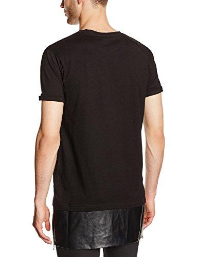 Urban Classics Herren T-Shirt Long Zipped Leather Imitation Bottom Tee Schwarz (blk/blk 17)