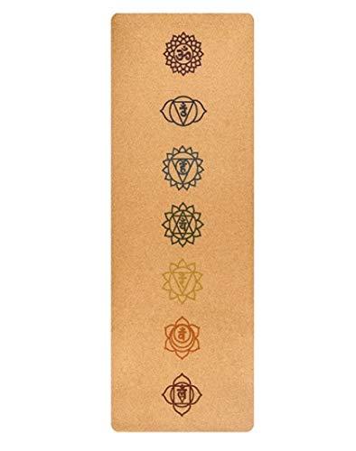 Wild Therapies - Esterilla de Yoga de Corcho con 7 símbolos de Chakra, Antideslizante, fácil de Limpiar, Ayuda a Reducir calambres Mientras Haces Yoga, Principiantes y yogis sazonados por Igual