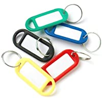 Bulk Hardware BH01527 Assorted Coloured Plastic Key Ring Tags with Labels - Pack of 50