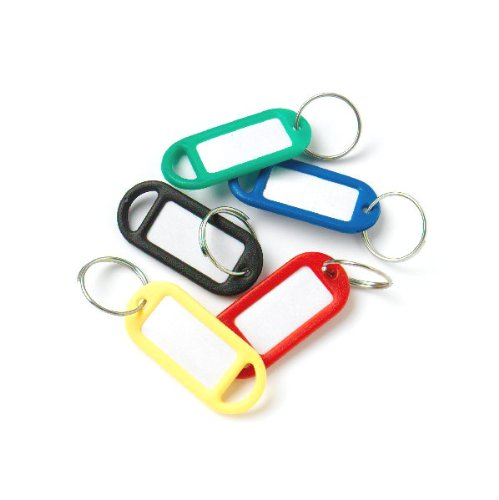 bulk-hardware-bh01527-assorted-coloured-plastic-key-ring-tags-with-labels-pack-of-50