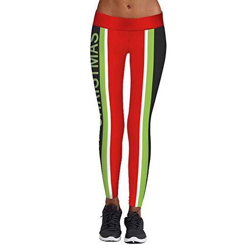 AmyGline Frauen Freizeit Leggings Weihnachten Print Strumpfhosen Elastische Yogahosen Karneval Bekleidung