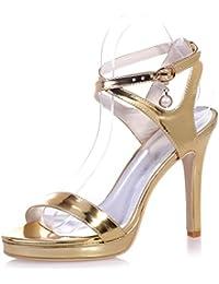 Elegant high shoes5915-30 Femmes Talons Hauts En Similicuir PU Creux Creux Sandales Parti Et SoiréE Robe Et Peep Toe/Partie, blue, 37