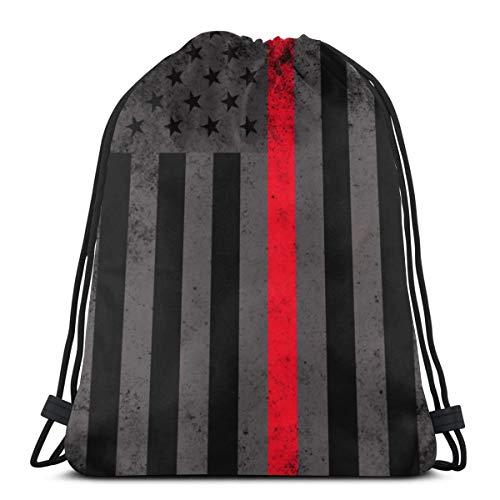 Bag hat Fire Fighter Thin Line Flag 3D Print Drawstring Backpack Rucksack Shoulder Gym for Adult 16.9