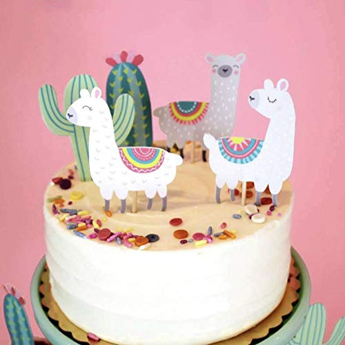 CheeseandU 50 Stück Alpaka-Deko Cupcake-Topper süßer Cartoon Kakteen Llama Muster Kuchen Toppers Geburtstag Party Cake Picks Decor Set 5 Styles (Pick-60mm)