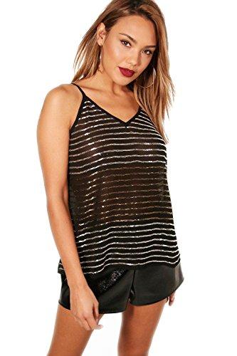 Schwarz Damen Freya Embellished Stripe Sequin Cami - 10 (Embellished Cami)