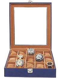 Leather World Blue 15 Watch Box | Watch Case | Watch Organizer | Watch case for men
