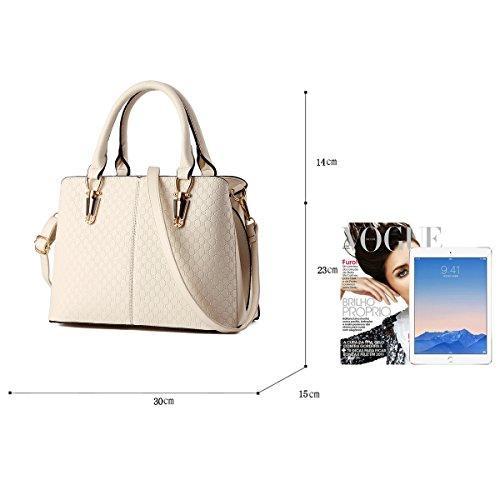 Tisdain Borsa a tracolla borsa in pelle goffrata borsa qualità Ms. borsa raccoglitore dell'unità di elaborazione Messenger bag big bag Bianco sporco