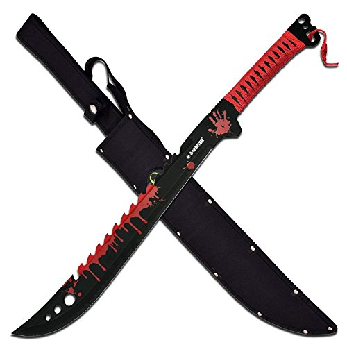 Zombie Hunter Messer Full Tang Machete Buschmesser Bloodsplash Scheide ZB-124RD