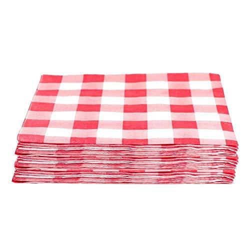 (Spielzeug) 20Pcs Einweg-Papierservietten Rot Kariertes Geschirr Sommer Party Supplies Red Plaid Decor Für Geburtstagsfeier Dekor , Rot ()