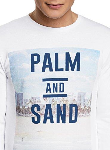 oodji Ultra Herren Gerades Sweatshirt mit Stranddruck Weiß (1075P)