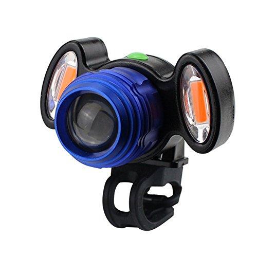 USB LED Fahrradbeleuchtung Fahrradlicht mit doppelter Warnleuchte,TriLance Radfahren Fahrrad Kopf Vorne Lampe Taschenlampe Fahrradlichter Fahrradlampe Fahrradlich Scheinwerfer (Blue)