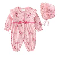 Baby Girl Jumpsuits Flower Cotton Romper Jumpsuits Long Sleeve Onesies with Hat for Footless Sleep and Play 73cm Pink