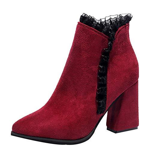 MYMYG Stiefeletten Boots Frauen solide Dicke High Heel -