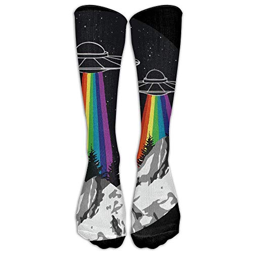 DEFFWBb Rainbow UFO Gay Pride Women & Men Knee High Socks Baseball Athletic Tube Long Stockings 50cm Knit Tube Dress