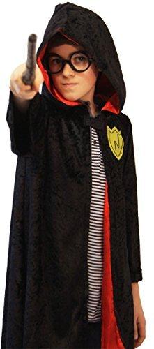 Welt Buch Tag-Hexe-Wizard HARRY KAPUZENUMHANG mit BRILLEN Kinder Kostüm Zubehör - 2 Größen - Wie abgebildet, 4-6 years (Crazyladies Kostüm)