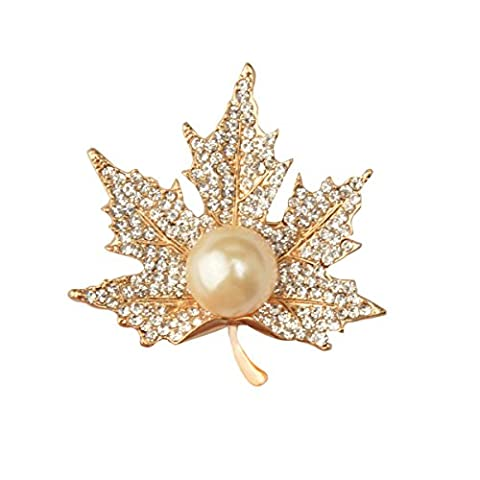 Unisex \u0026 Men Alloy Brooch Pearl Maple Leaf Elegant Fashion High Grade Korean Version Banquet Jewelery Suit Accessories,Gold-L