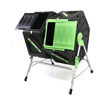 Dual compartment Tumbling Composter - Easy and fast composting - Aided turning and mixing - Mixing bars and aeration system - Easy to set up and use - Long lasting to be kept outdoors all year round - Painless and clean composter.