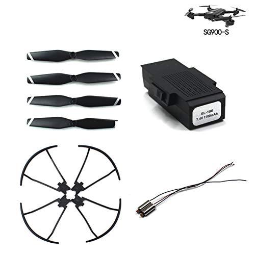 Delicacydex Wind Klinge/Paddel + Schutzring/Schutzkreis + 7.4V Motor + 7.4V 1100mA Batterie für Sg900-S Quadcopter Zubehör - Schwarz