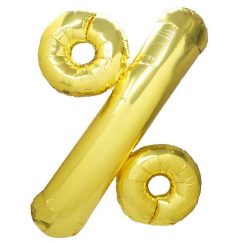 NorthStar Balloons-Ballon Aluminium % Pourcentage Doré De 86Cm Non Gonflé