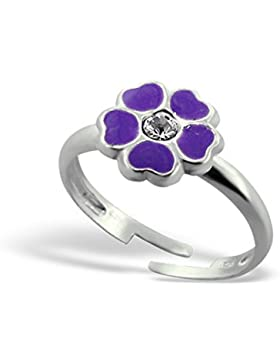 Kinder Silber Blume Ring verstellbar mit Kristall und Epoxy