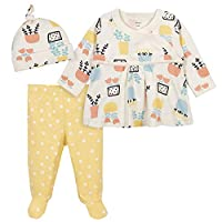 Grow by Gerber Baby Girls Organic 3-Piece Shirt, Footed Pant, and Cap Set, Yellow/Ivory, 3-6 Months
