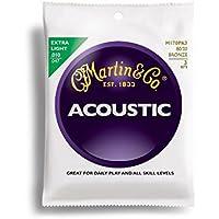 Martin Lot de 3 jeux de 6 cordes pour guitare acoustique 80/20 Bronze épaisseur .010-.047